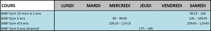 Horaires Baby